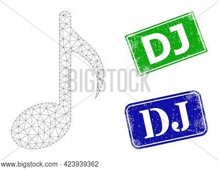 Network Music Note Model, And Dj Blue And Green Rectangle Scratched Stamp Seals. Mesh Carcass Image