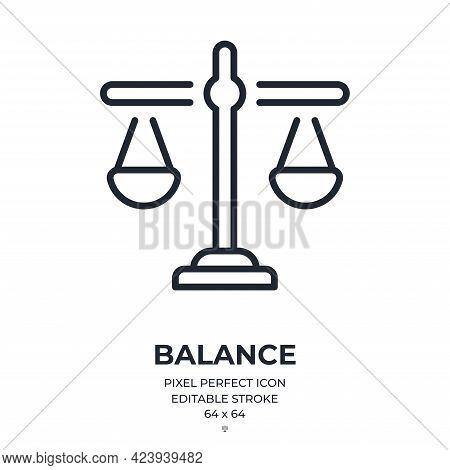 Balance Editable Stroke Outline Icon Isolated On White Background Flat Vector Illustration. Pixel Pe