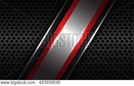 Abstract Silver Red Line Slash Overlap On Dark Grey Metallic Circle Mesh Pattern Design Modern Luxur