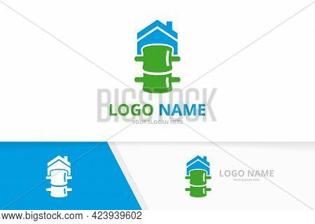Vector Spine And Home Logo Combination. Vertebral Column And Building Logotype Design Template.