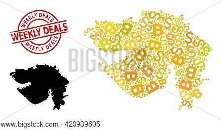 Rubber Weekly Deals Stamp Seal, And Finance Mosaic Map Of Gujarat State. Red Round Stamp Seal Contai