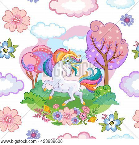 Seamless Pattern With Dreaming Unicorn In A Magical Blooming Garden On White Background. Vector Illu