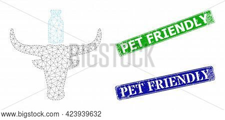 Polygonal Cow Milk Image, And Pet Friendly Blue And Green Rectangular Unclean Watermarks. Polygonal