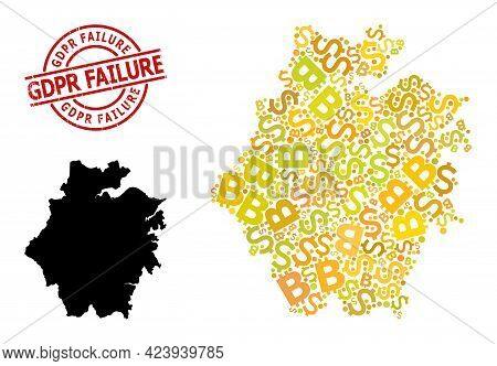 Distress Gdpr Failure Badge, And Finance Collage Map Of Zhejiang Province. Red Round Badge Includes