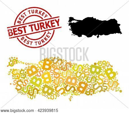 Grunge Best Turkey Stamp, And Currency Mosaic Map Of Turkey. Red Round Stamp Has Best Turkey Tag Ins