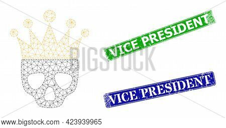 Polygonal Dead King Model, And Vice President Blue And Green Rectangle Grunge Seals. Polygonal Wiref