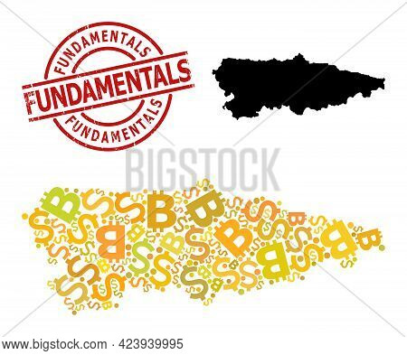 Textured Fundamentals Badge, And Money Collage Map Of Asturias Province. Red Round Badge Contains Fu