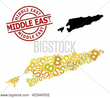 Scratched Middle East Stamp Seal, And Financial Mosaic Map Of East Timor. Red Round Stamp Seal Has M