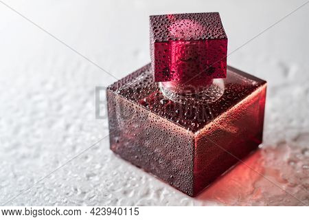 Pink Burgundy Square Perfume Bottle On A Glossy Surface With Water Drops. Eau De Toilette. Copy Spac