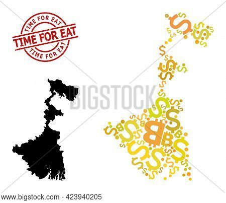 Rubber Time For Eat Stamp Seal, And Financial Collage Map Of West Bengal State. Red Round Stamp Seal