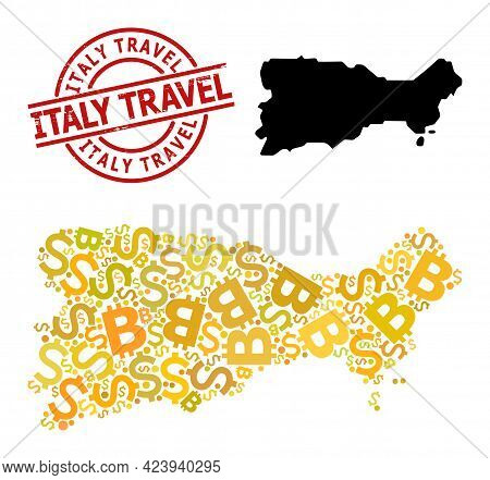 Rubber Italy Travel Badge, And Banking Mosaic Map Of Capri Island. Red Round Badge Has Italy Travel