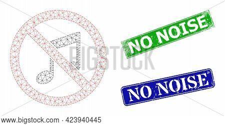 Network Forbidden Music Image, And No Noise Blue And Green Rectangle Dirty Stamp Seals. Polygonal Wi