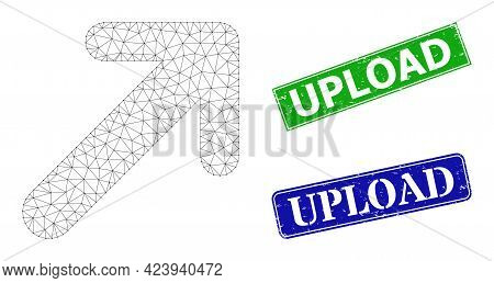 Triangular Arrow Up Right Image, And Upload Blue And Green Rectangle Unclean Seal Prints. Mesh Wiref