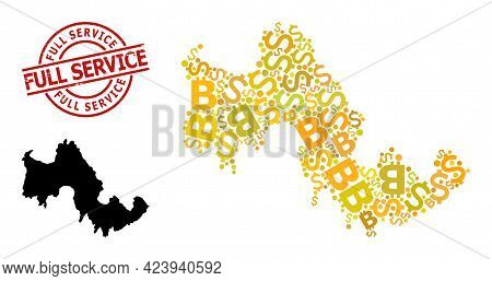 Rubber Full Service Stamp Seal, And Finance Mosaic Map Of Tilos Island. Red Round Stamp Seal Has Ful