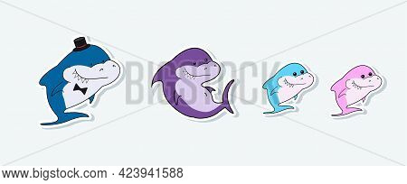 Shark Cartoon Characters Family. Mom And Dad, Daughter And Son Are Sea Inhabitants. Bright Funny Sha