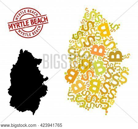 Scratched Myrtle Beach Badge, And Banking Collage Map Of Lugo Province. Red Round Badge Contains Myr
