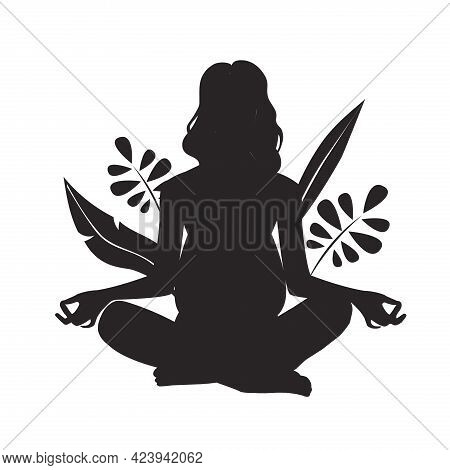 The Concept Of A Healthy Lifestyle, Yoga, Sports At Home For Pregnant. The Silhouette Of A Pregnant
