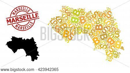 Rubber Marseille Badge, And Finance Collage Map Of French Guinea. Red Round Badge Has Marseille Titl