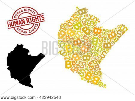 Textured Human Rights Seal, And Bank Mosaic Map Of Podkarpackie Province. Red Round Seal Includes Hu