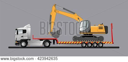 Image Of A Modern European Low Loader With A Load. Goose Excavator. Transportation Of Construction E