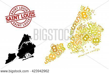 Scratched Saint Louis Stamp Seal, And Bank Mosaic Map Of New York City. Red Round Stamp Seal Include