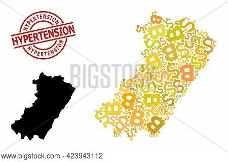 Grunge Hypertension Stamp Seal, And Finance Collage Map Of Castellon Province. Red Round Stamp Conta