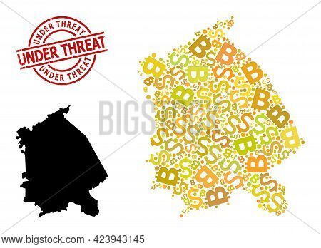 Grunge Under Threat Seal, And Money Mosaic Map Of Pavlodar Region. Red Round Stamp Seal Has Under Th