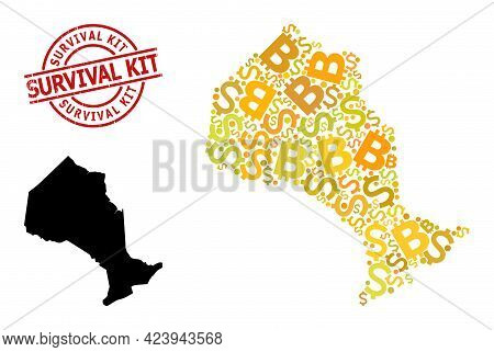Scratched Survival Kit Seal, And Bank Mosaic Map Of Ontario Province. Red Round Stamp Seal Includes