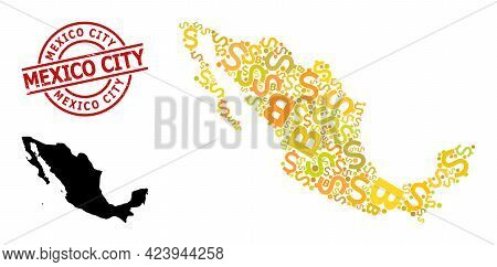 Rubber Mexico City Seal, And Bank Collage Map Of Mexico. Red Round Stamp Seal Has Mexico City Title