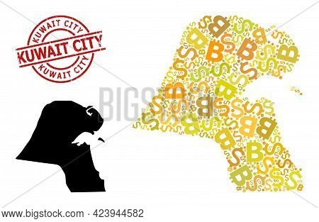 Textured Kuwait City Stamp Seal, And Financial Mosaic Map Of Kuwait. Red Round Stamp Seal Includes K