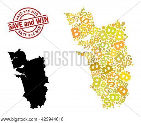 Rubber Save And Win Stamp Seal, And Currency Mosaic Map Of Goa State. Red Round Stamp Seal Includes