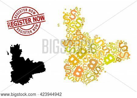 Grunge Register Now Stamp Seal, And Bank Collage Map Of Valladolid Province. Red Round Stamp Seal Ha