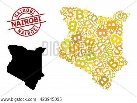 Textured Nairobi Stamp Seal, And Finance Mosaic Map Of Kenya. Red Round Stamp Seal Contains Nairobi