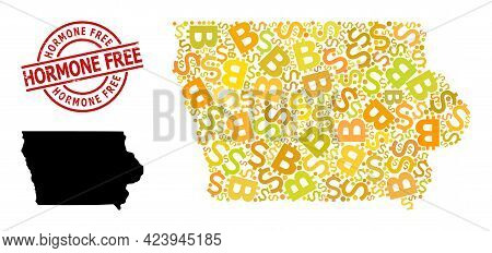 Distress Hormone Free Seal, And Money Collage Map Of Iowa State. Red Round Stamp Seal Includes Hormo