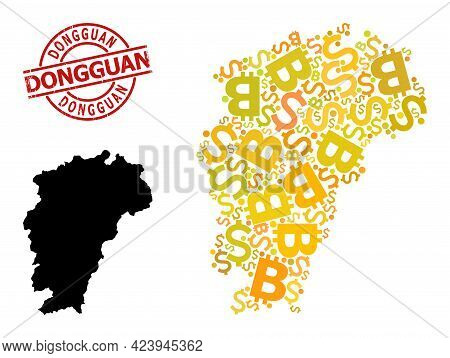 Textured Dongguan Stamp, And Finance Mosaic Map Of Jiangxi Province. Red Round Stamp Includes Donggu