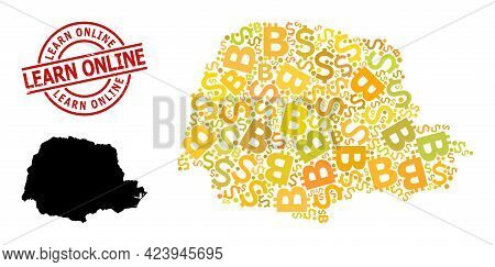 Rubber Learn Online Stamp Seal, And Financial Collage Map Of Parana State. Red Round Seal Includes L