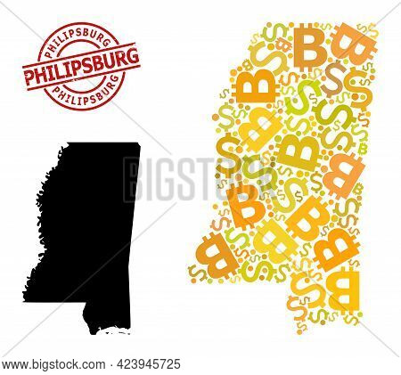 Rubber Philipsburg Stamp, And Financial Collage Map Of Mississippi State. Red Round Stamp Contains P