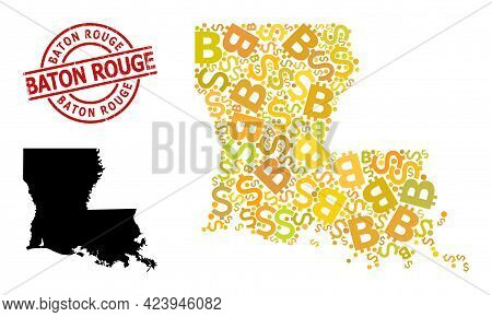Rubber Baton Rouge Stamp, And Finance Collage Map Of Louisiana State. Red Round Stamp Seal Has Baton
