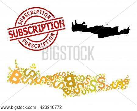 Grunge Subscription Stamp, And Bank Mosaic Map Of Crete Island. Red Round Stamp Includes Subscriptio