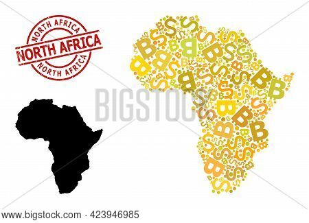 Grunge North Africa Stamp, And Financial Mosaic Map Of Africa. Red Round Stamp Contains North Africa