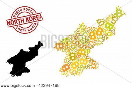 Rubber North Korea Seal, And Bank Mosaic Map Of North Korea. Red Round Seal Includes North Korea Tag