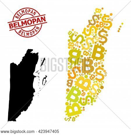Distress Belmopan Stamp Seal, And Money Collage Map Of Belize. Red Round Stamp Contains Belmopan Tex