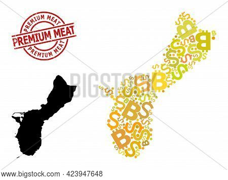 Textured Premium Meat Stamp Seal, And Bank Mosaic Map Of Guam Island. Red Round Stamp Seal Contains