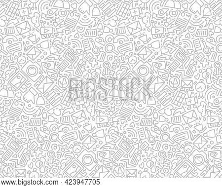 Social Media Seamless Pattern Doodle Style. Vector Illustration Wits Hand Drawn Icons