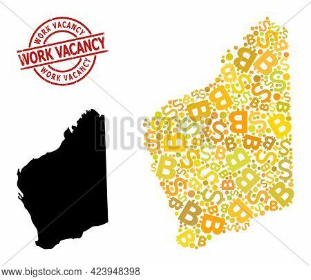 Grunge Work Vacancy Stamp Seal, And Banking Collage Map Of Western Australia. Red Round Stamp Seal H