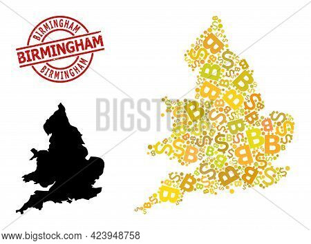 Grunge Birmingham Stamp Seal, And Bank Collage Map Of England. Red Round Stamp Seal Includes Birming