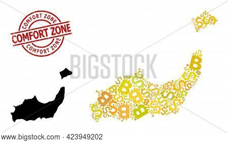 Rubber Comfort Zone Stamp Seal, And Currency Mosaic Map Of Inagua Islands. Red Round Seal Includes C