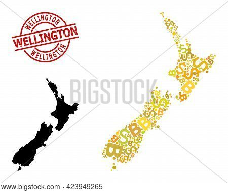Textured Wellington Seal, And Finance Mosaic Map Of New Zealand. Red Round Seal Includes Wellington