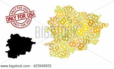 Grunge Only For Usa Stamp Seal, And Money Collage Map Of Andorra. Red Round Stamp Seal Includes Only