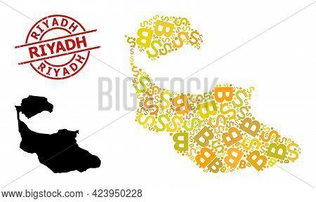 Distress Riyadh Seal, And Money Mosaic Map Of Tiran Island. Red Round Stamp Seal Contains Riyadh Tit